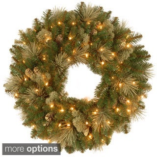 Carolina Pine Wreath with Clear Lights