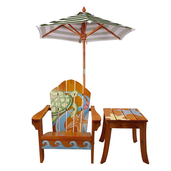 Teamson Kid's Winland Sea Turtle Outdoor Wood Table and Chair Set