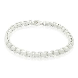 Gioelli Sterling Silver High Polished Round Box Chain Bracelet