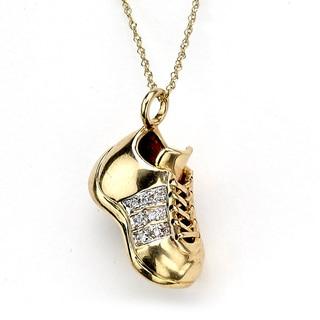 DFAC by Samuel B. 14k Yellow Gold Diamond Accent 'Little Feet' Sneaker Pendant