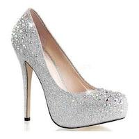 Women's Fabulicious Destiny 06R Silver Glitter Mesh Fabric