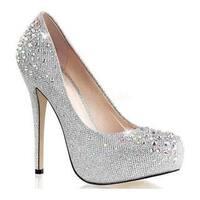 Fabulicious Women's Destiny Silver Glitter Mesh Fabric Heels