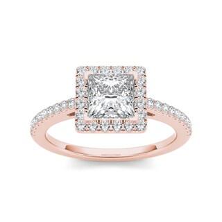 De Couer 14k Rose Gold 1 1/4ct TDW Diamond Princess-cut Engagement Ring