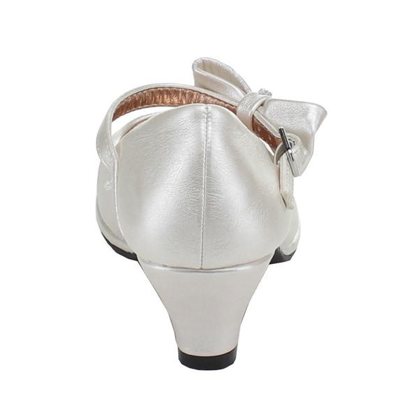 Little Angel Tasha-685E New Girl Leatherette Bow Platform Mary Jane Pump Size