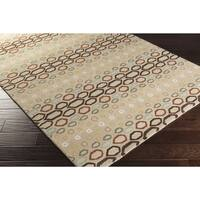 Hand-tufted Bubbles Beige/ Multicolored Wool Area Rug - 6' x 9'