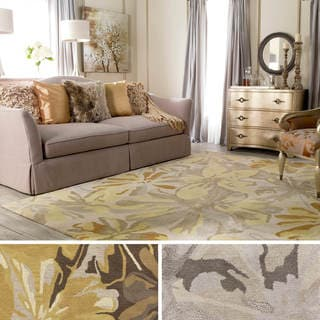 Hand-tufted Garden Floral Beige/ Multicolored Wool Area Rug (6' x 9')