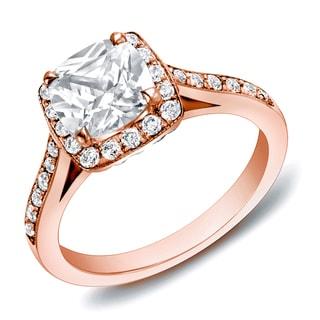 Auriya 14k Rose Gold 2ct TDW Certified Cushion-cut Diamond Ring (H-I, SI1-SI2)
