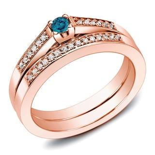 Auriya 10k Rose Gold 1/4ct TDW Blue Diamond Bridal Set (Blue)