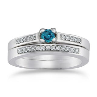 Auriya 10k Gold 1/4ct TDW Blue Diamond Bridal Set (Blue)