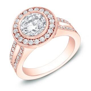 Auriya 14k Rose Gold 2ct TDW Certified Contemporary Bezel-set Diamond Ring (H-I, SI1-SI2)