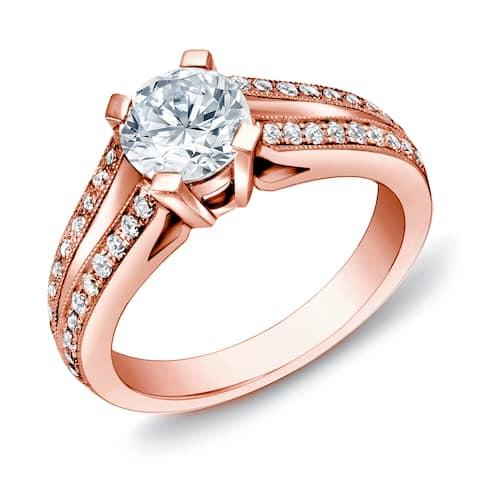 Auriya 14k Rose Gold 1 1/4ctw Modern Round Diamond Engagement Ring Certified