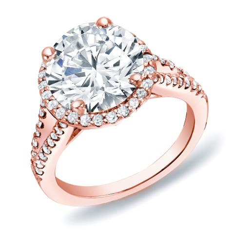 Auriya 14k Rose Gold Halo Diamond Engagement Ring 1 3/4ctw Certified