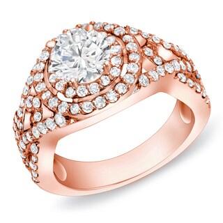 Auriya 14k Rose Gold 1 1/2 ct TDW Twisted Split-Shank Diamond Halo Engagement Ring