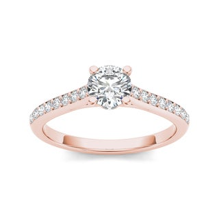 De Couer 14k Rose Gold 1ct TDW White Diamond Engagement Ring