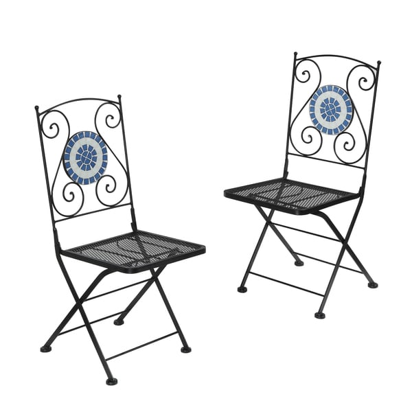 Furniture Of America Spector Blue Mosaic Bistro Chairs (Set Of 2)   Free  Shipping Today   Overstock.com   16607604