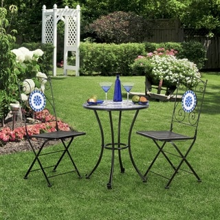 Furniture of America Spector Blue Mosaic Bistro Chairs (Set of 2)