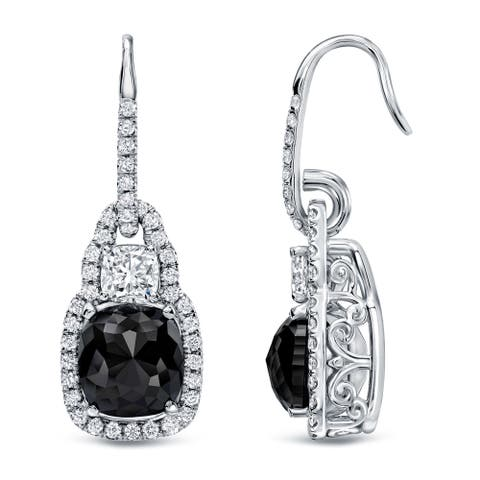 Auriya 6 1/6ctw Fancy Cushion-cut Halo Black Diamond Dangle Earrings 18k Gold