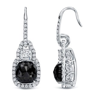 Auriya 18k White Gold 6 1/6ct TDW Cushion-Cut Black Diamond Halo Earrings