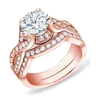 Auriya 14k Rose Gold 1 1/2ct TDW Certified Round Diamond Bridal Set