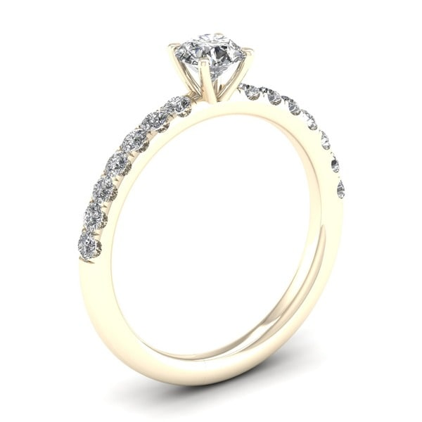 De Couer 14k Yellow Gold 3/4 ct TDW Diamond Classic Engagement Ring