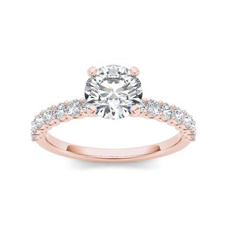 De Couer 14k Rose Gold 1ct TDW Diamond Engagement Ring (H-I, I1-I2)