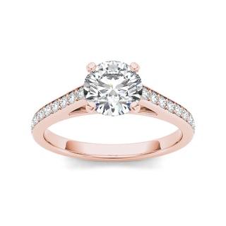 De Couer 14k Rose Gold 1ct TDW Diamond Classic Engagement Ring