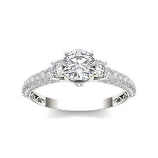 De Couer 14k White Gold 1 1/2ct TDW Diamond Three-stone Anniversary Ring (Option: 7.25)|https://ak1.ostkcdn.com/images/products/9420642/P16607668.jpg?impolicy=medium