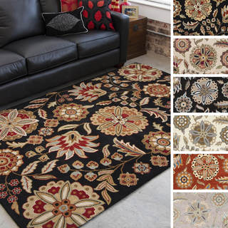 Hand-tufted Lily Pad Floral Wool Area Rug (6' x 9')