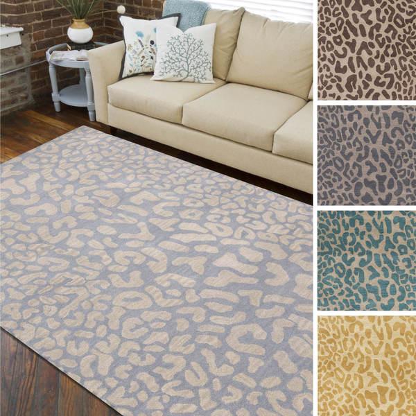 Hand Tufted Jungle Animal Print Wool Area Rug 6 X 9