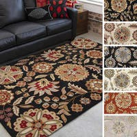 Hand-tufted Lily Pad Floral Wool Area Rug (5' x 8') - 5' x 8'