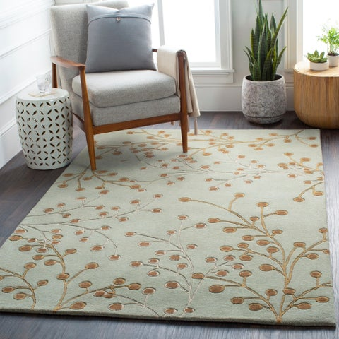 Hand-tufted Sakura Branch Floral Wool Area Rug (5' x 8') - 5' x 8'