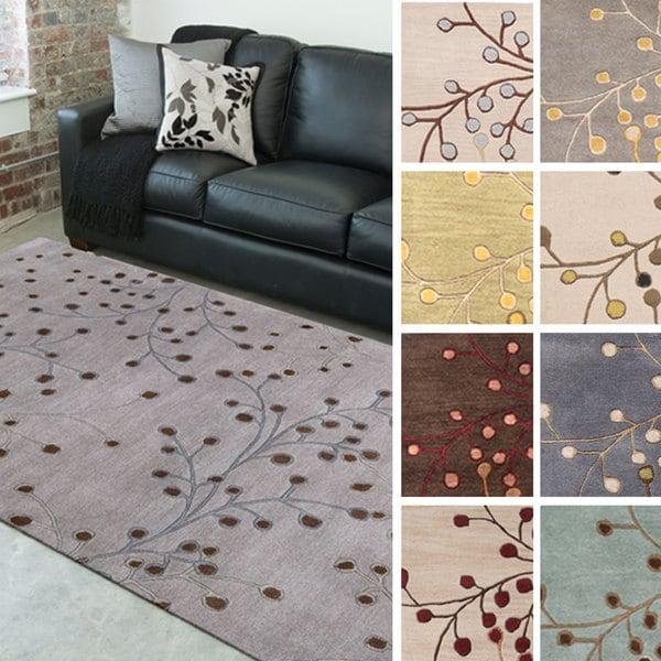 Handmade Sakura Branch Beige Floral Wool Area Rug (7'6 x 9'6)
