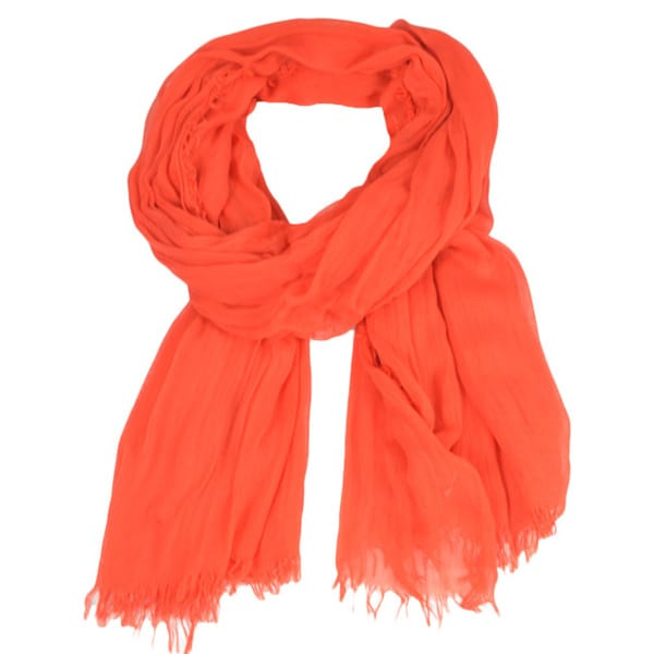 LA77 Red-orange Frayed Edge Scarf