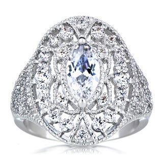 Sterling Silver Marquise-cut Cubic Zirconia Art Deco Cocktail Ring