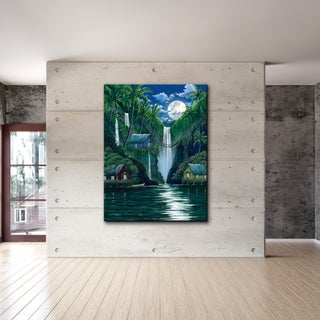 David Dunleavy 'Moon Over the Falls' Canvas Wall Art - Green
