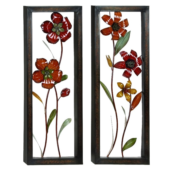 Floral Bloom 3D Metal Art Wall Panel Decor (Set of 2 ...