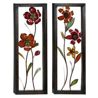 Floral Bloom 3D Metal Art Wall Panel Decor (Set of 2)