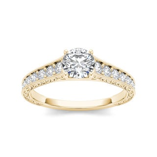 De Couer 14k Yellow Gold 1 1/5ct TDW White Diamond Solitaire Engagement Ring