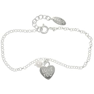 Carolina Glamour Collection Sterling Silver Heart Charm Chain Bracelet with 'Love You' Message, Pearl and Peace Tag (4.6 mm)