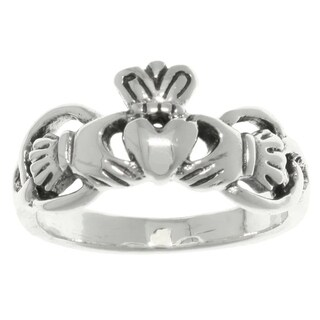 Sterling Silver Celtic Claddagh Heart and Crown Ring