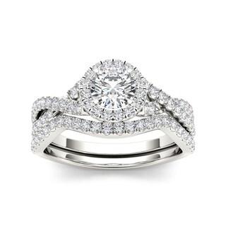 De Couer 14k White Gold 1ct TDW Diamond Twist Shank Engagement Ring Set