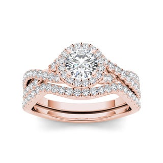 De Couer 14k Rose Gold 1ct TDW White Diamond Twist Shank Engagement Ring Set