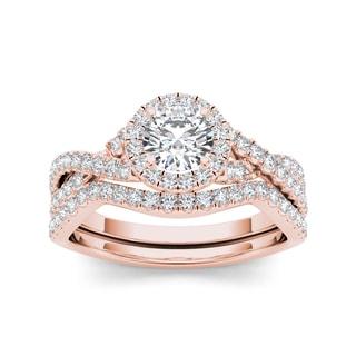 De Couer 14k Rose Gold 1ct TDW White Diamond Twist Shank Engagement Ring Set