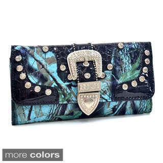 Patent and Camo Rhinestone Buckle Tri-fold Wallet