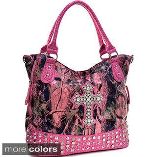 Patent and Camo Rhinestone Cross Pyramid Tote