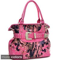 Faux Patent and Camo Rhinestone-buckle Handbag
