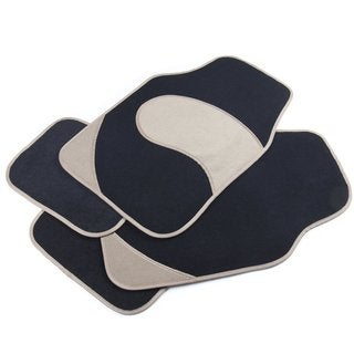 Adeco 4-piece Black and Beige Car Floor Mats