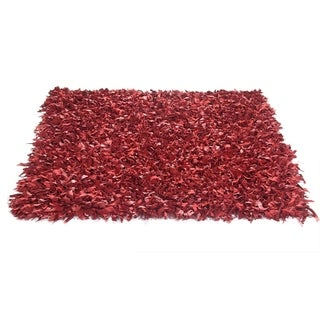 Red Leather Shaggy Rug (2' x 7'6) - 2' x 7'6
