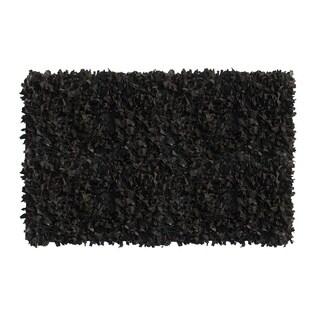 Black Leather Shaggy Rug (8' x 10')