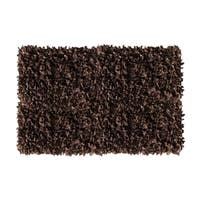 Dark Brown Leather Shaggy Area Rug - 8' x 10'